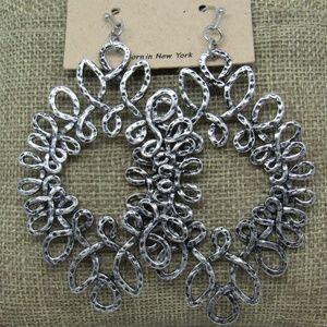 Silver Hammered Metal Drop Oval Hoop Earrings New